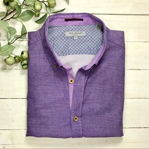 Ted Baker Purple Long Sleeve Button Down Shirt